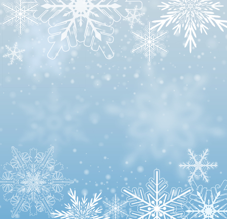 ice: Winter frozen background with snowflakes, vector.