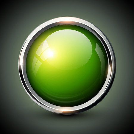 shiny button: Green shiny button with metallic elements, vector glossy design for website.