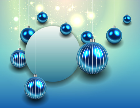 december background: Christmas background blue, vector illustration.