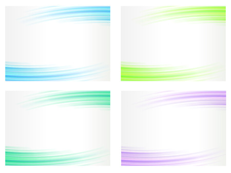 green lines: Abstract backgrounds set, wavy lines, vector illustration