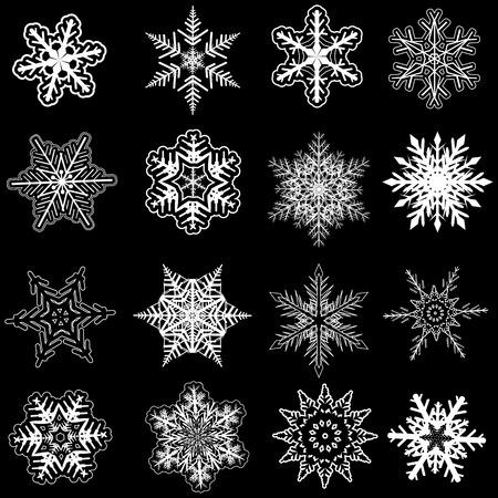 snowflake set: Snowflakes winter set, vector design. Illustration