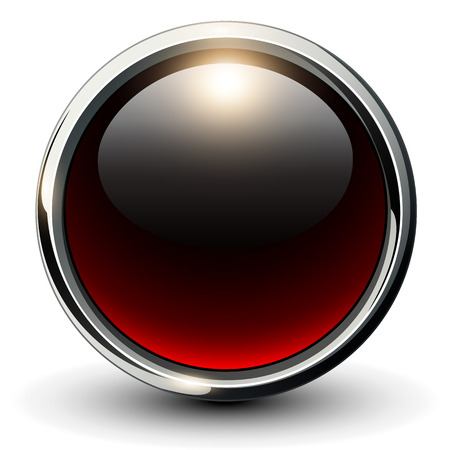 Red shiny button with metallic elements, 3D vector design Illustration