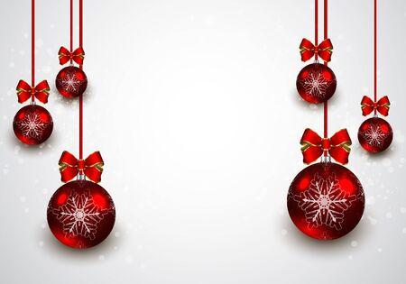 Christmas red balls background. Vector illustration Illustration