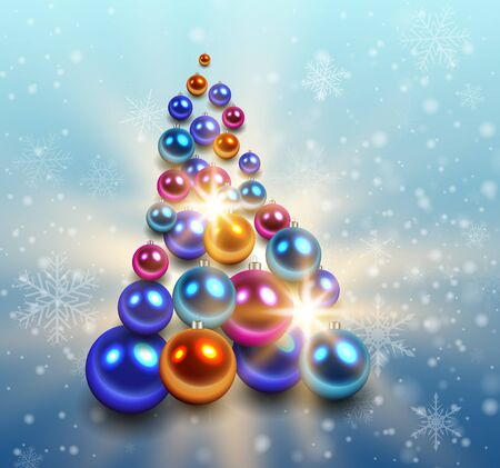 christmas tree illustration: Christmas background with christmas tree from shiny balls. Vector illustration. Illustration