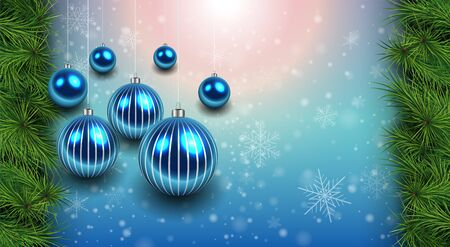 flicker: Christmas background with blue shiny balls and fir branches. Vector Illustration.