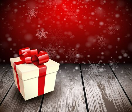 ligneous: Christmas wooden background with gift box. Vector illustration.