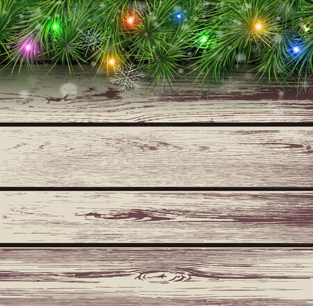 timbered: Christmas wooden background with fir branches and lights. Vector illustration.