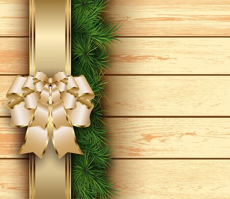 felicitation: Christmas wooden background with fir branches, bow and ribbon. Vector illustration.