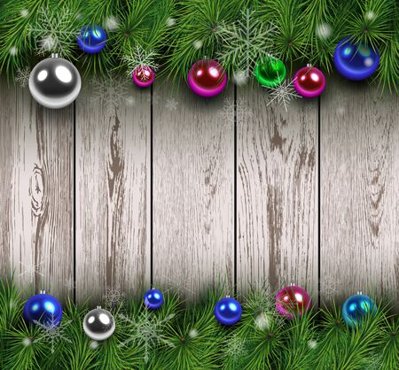 image background: Christmas wooden background with fir branches and balls. Vector illustration.