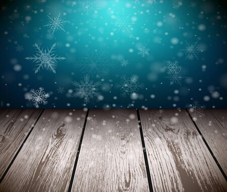 ligneous: Christmas  background with 3D wooden floor and snowing background. Vector illustration.