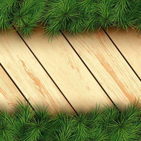 ligneous: Christmas background with fir branches and wooden boards. Vector illustration. Illustration