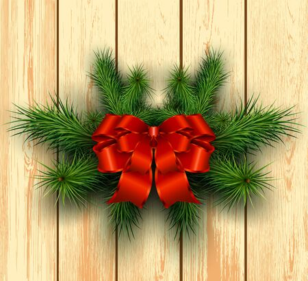 timbered: Christmas wooden background with fir branches and red bow with ribbon. Vector illustration.