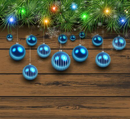 felicitation: Christmas wooden background with fir branches and balls. Vector illustration.