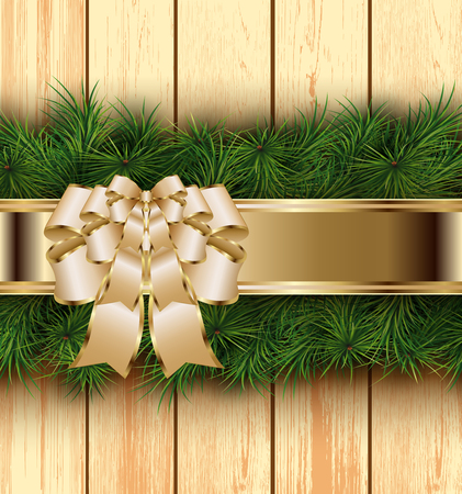 timbered: Christmas wooden background with fir branches, bow and ribbon. Vector illustration.