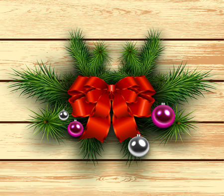 felicitation: Christmas wooden background with fir branches and red bow with ribbon. Vector illustration.
