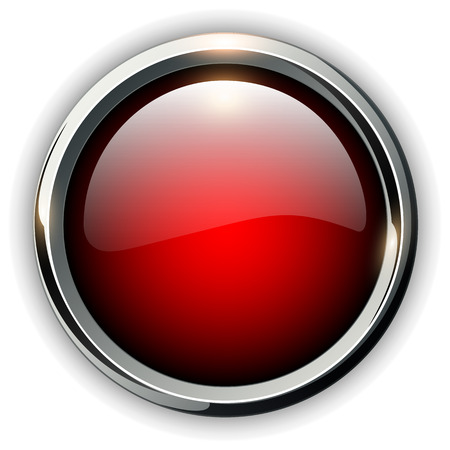 silver metal: Red shiny button with metallic elements, vector design for website.