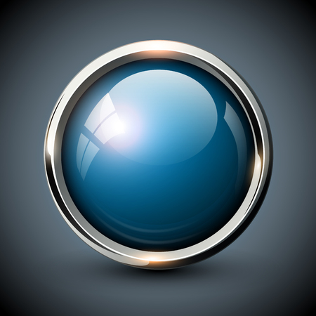 shiny button: Blue shiny button with metallic elements, vector glossy design for website.