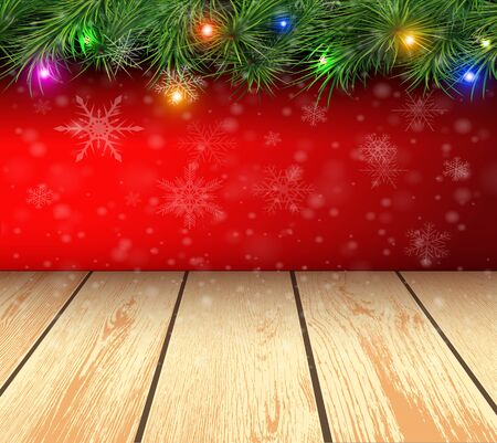 felicitation: Christmas background with fir branches, balls and 3d wooden boards. Vector illustration.