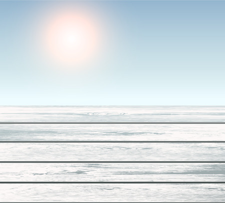 sunny: Scene of wooden floor over blue sky with sun, vector 3D illustration.