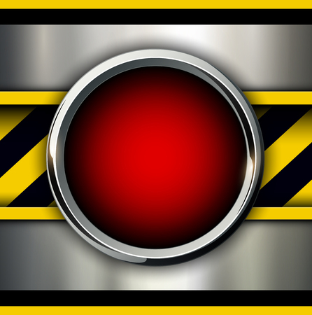 shiny buttons: Background with alarm red button and warning stripes, vector illustration.