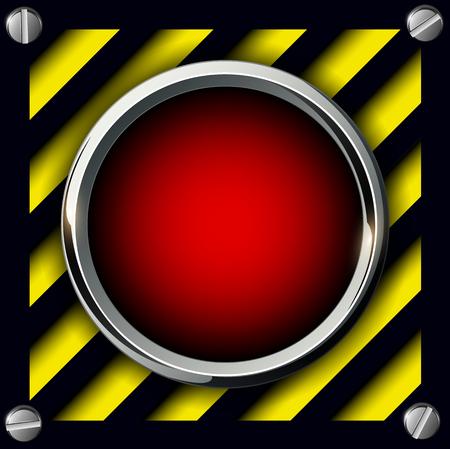 hazard stripes: Red alarm button background, vector illustration.