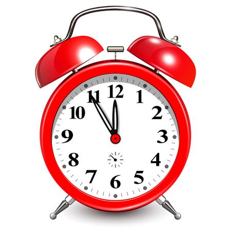 Alarm clock with five minutes to twelve o'clock.