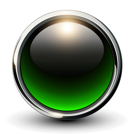 spheres: Green shiny button with metallic elements, 3D glossy vector design