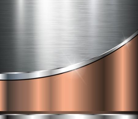 Metallic achtergrond gepolijst staal textuur, vector ontwerp. Stock Illustratie
