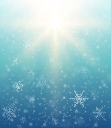 blizzards: Winter elegant background with snowflakes, vector christmas illustration. Illustration