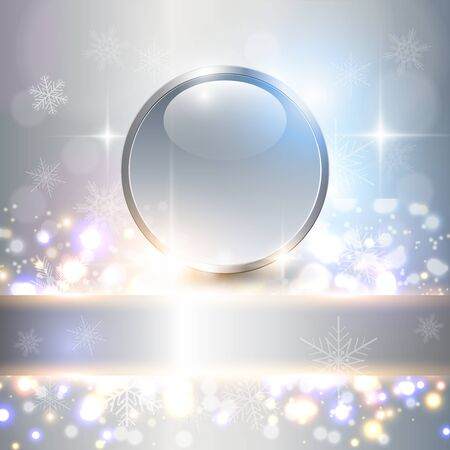 ball lights: Abstract Christmas background with crystal ball, lights and snowflakes, elegant vector illustration.