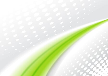 green lines: Abstract backround 3D, wavy green lines on grey dotted background, vector illustration