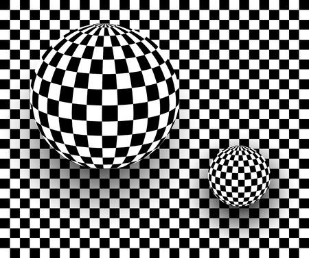 cuadros blanco y negro: 3d fondo blanco y negro, esferas a cuadros, ilustración vectorial