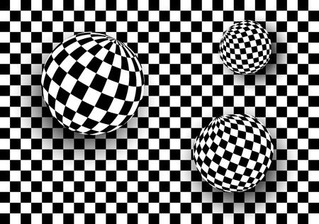 grid pattern: Background 3d black and white, checkered spheres, vector illustration Illustration