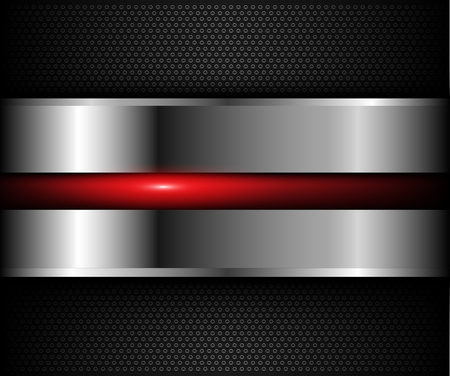 Background metallic mit roten glänzenden Element über Löcher Muster, Vektor-Illustration. Vektorgrafik