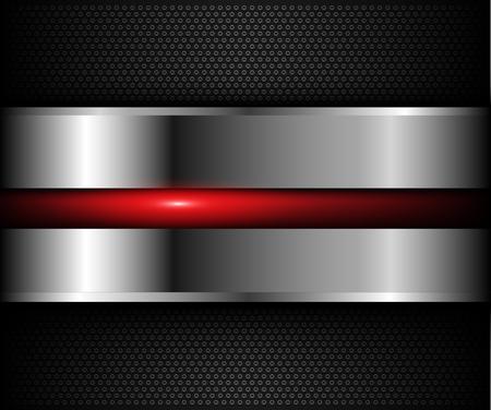 acero: fondo metálico con un elemento de color rojo brillante sobre el patrón de agujeros, ilustración vectorial.