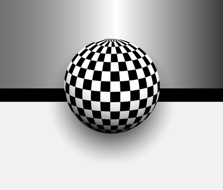 cuadros blanco y negro: Abstract background 3d with black and white, checkered sphere, vector illustration Vectores