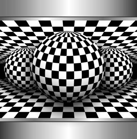 checkered: Abstract background 3d with black and white, checkered sphere, vector illustration Illustration