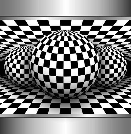 cuadros blanco y negro: Resumen de fondo en 3D, la esfera marcada, ilustraci�n vectorial blanco y negro