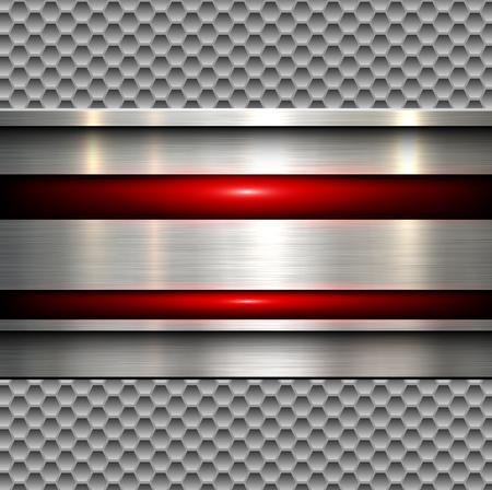 Abstracte achtergrond, gepolijste metalen textuur over naadloze zeshoeken patroon, vector illustratie. Vector Illustratie