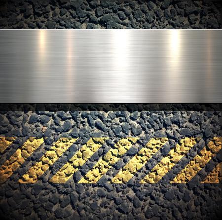 road paving: Background with metallic banner over asphalt vector texture Illustration