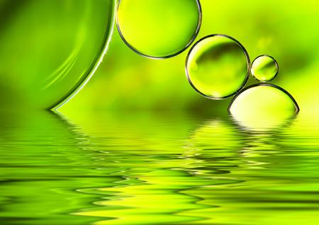 녹색 물 배경, 추상 자연 물 반사 배경. 스톡 콘텐츠