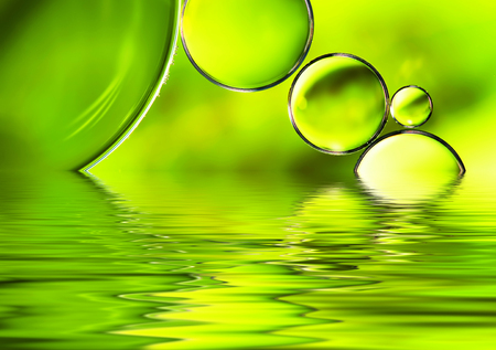 Green watery background, abstract nature water reflection background.
