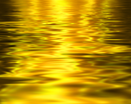 watery: Liquid metal texture, gold metallic background.