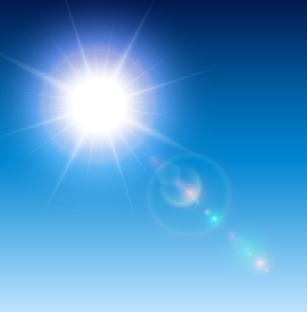 flare: Sun with lens flare, vector background.