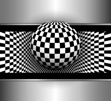 abstract black: Abstract background 3d with black and white, checkered sphere, vector illustration Illustration