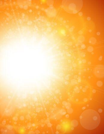 beautiful sky: Sunny orange background abstract bokeh background, vector illustration