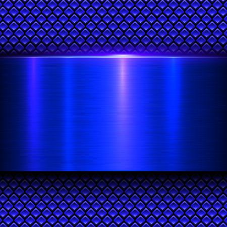 metal sheet: Background blue metal texture, vector illustration.