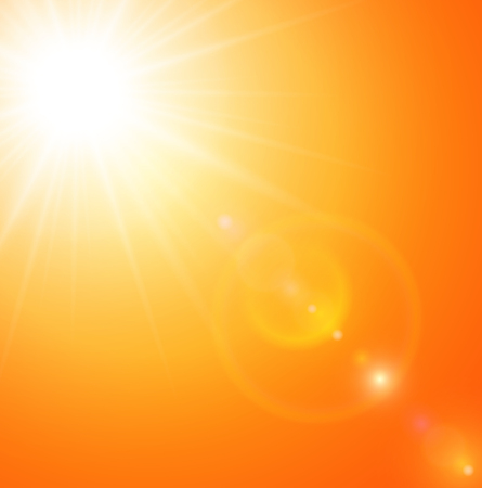 Summer natural  background with sun and lens flare.