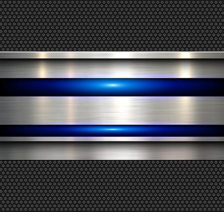Achtergrond, gepolijste metalen structuur met blauwe glanzende lijnen, vector illustratie.