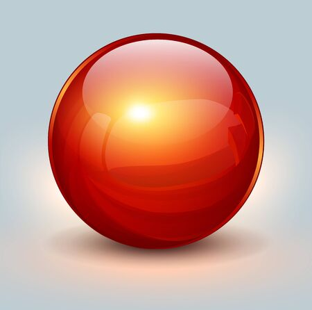 red ball: Background with red glass ball, vector illustration.